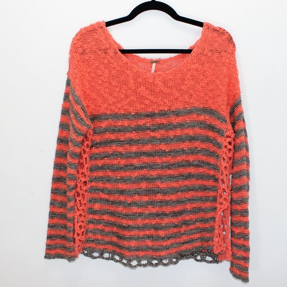 FREE PEOPLE Crochet Striped Coral Taupe Sweater